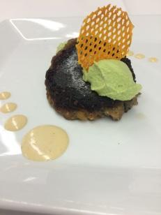 Eggplant Cake with Edamame Puree & Dijon Horseradish Aioli